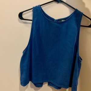 BDG denim/chambray tank top with open back